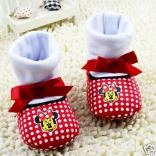 Cotton Baby Girls Minnie Mouse Red & White Disney Sock Shoe Pre Walkers