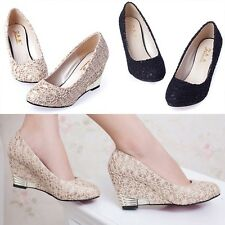 New Women's Fashion Lace Mesh Wedges Shoes For spring autumn Round Head Shoes