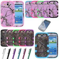 TRIPLE LAYER HYBRID REAL TREE CAMO HARD CASE COVER FOR Samsung Galaxy S3 i9300