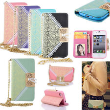 Chain Flip Wallet Purse PU Leather Case Cover Stand Shell Housing for Cell Phone
