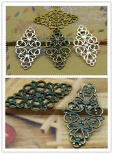 Free shipping 10/30/100pcs Antique Silver Filigree Flower Rhombus Connector Link