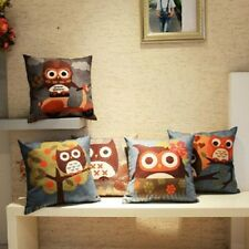 "18"" Cotton Linen Owl Pillow Case Home Room Decor Back Throw Sofa Cushion Cover"