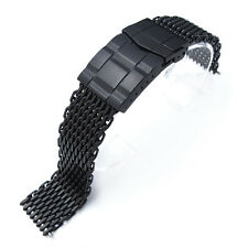 "20mm Ploprof 316 SS Reform ""SHARK"" Mesh Watch Band, Submariner Clasp, PVD Black"