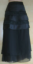 NEW NEXT SIGNATURE Stunning Black Beaded Layered Skirt