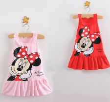 Kids Baby Girls Minnie Mouse Cartoon Tops Pink/Red Clothes Party Dress Fit 1-6Y