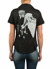 Women's Muse by Tyson McAdoo Tattooed Woman Dancer Short Sleeve Black Blouse Top