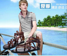 Hot Fashion Mens Strappy Gladiator Shoes Real Leather Sandals Summer Slides New