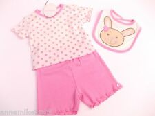 BNWT baby girls pink and white  T-shirt shorts and  bunny bib  3-6 months