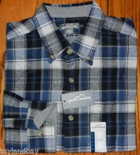 Eddie Bauer Mens Brushed Cotton Flannel Shirt Blue Plaid BLL New With Tags NWT