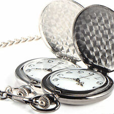 Mens Womens Antique Style Quartz Pocket Watch With Necklace Chain Silver Black