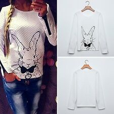 Women Girls Round Neck Rabbit Print Knitted Sweater Jumper Tops Pullover Tops