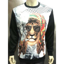 KONFLIC RASTA LION PRINT CREWNECK  SUBLIMATED SWEATER URBAN WEAR REGGAE WEED