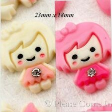 Kawaii Flat Back Resin Doll with Bow and Rhinestone Cabochon Decoden