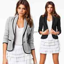 Women Lady Blazer Casual Short Collar Slim One Button Jacket Suit Coat Outwear