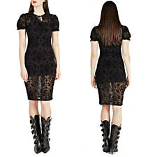 BANNED FLOCK SKULL CAMEO GOTHIC ROSARY SLIP DRESS GOTH EVENING STEAMPUNK LACE