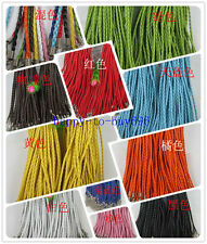 Free shipping 46x0.3cm fashion Braid Leather Cord Necklace Lobster Clasp Chain