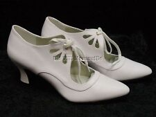 Edwardian Downton Abbey 1920's 1930's flapper Vintage style white shoes 6-12