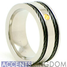 Accents Kingdom 8mm Men's Titanium Black Cable Ring Band Gold Screw Size 8-12