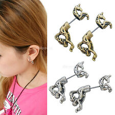 Fashion Cool Punk Vintage Retro Cute Unicorn Horse Ear Stud Earrings