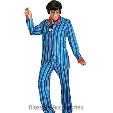C664 Mens Deluxe Austin Powers Carnaby Street Blue 60s Suit Adult Fancy Costume
