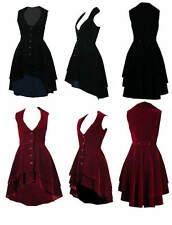 SIZES 8-28 BLACK RED VELVET GOTH VICTORIAN STEAMPUNK RIDING FROCKCOAT WAISTCOAT