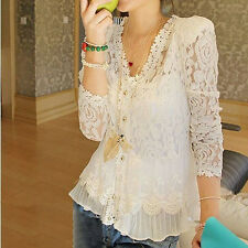 Womens Outwear Sexy Sweet Hollow White Lace Cardigan Coat Tops Blouse Jacket