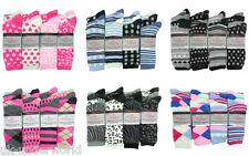 ladies womens coloured design cotton lycra designer ankle socks 6 pairs adults