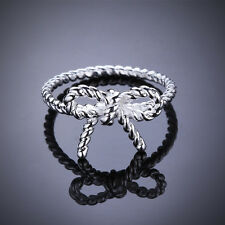 Promotion Price 925Sterling Silver Jewelry Bowknot Women Party Ring #7 #8 GR611