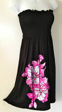 BLACK TUBE DRESS Knee Cruise Cover Up Pink Flowr Smock Strapless Sun XL 1X 2X 3X