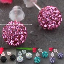 Rhinestone Czech Crystal 925 Sterling Silver Disco Ball Bead Ear Stud Earrings