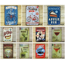 Drinks Cake & Bicycle Vintage Metal Sign Tin Poster Tavern Bar Coffee Pub Retro