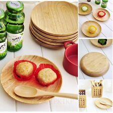 Bamboo Plates Wooden Bowl Safe Cutlery Dish Fork Spoon Knife Vintage Wood Plate