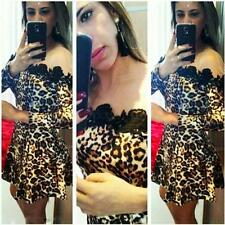 Sexy Women's Lace Off Shoulder Leopard Print Long Sleeves Party Club Mini Dress