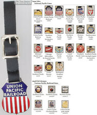 Pacific Lines Railroad fobs, various designs & leather strap options