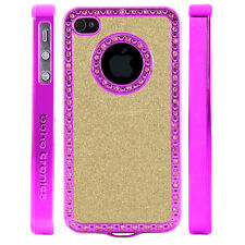 Crystal Rhinestone Light Gold Shimmer Glitter Plastic Case For Apple iPhone 4 4S