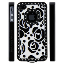 Gem Crystal Rhinestone Black White Rose Flower Felt Case For Apple iPhone 4 4S