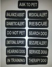 """Small Black Sew-On Embroidered Patches - SERVICE DOG  ASSORTED - 1 1/4 x 3"""""""