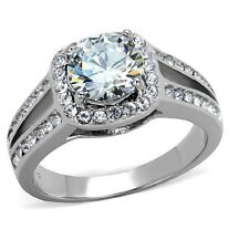 New Stainless Steel 7mm Round Cubic Zirconia Halo Engagement Ring Size 5 - 10