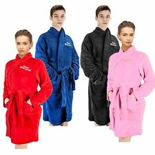 MENS LADIES DELUXE FLEECE SUPER SOFT WARM DRESSING GOWN BATHROBE HOUSECOAT MD1