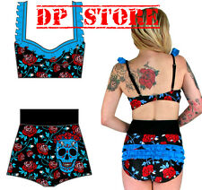 TOO FAST SWIMSUIT SWIM SUIT TATTOO PINUP 50'S ROCKABILLY SKULL BIKINI ROSES TOP