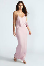 Boohoo Womens Ladies Polly Strappy Frill Top Maxi Dress