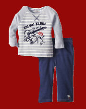 CALVIN KLEIN BABY BOYS GUITAR LS THERMAL SHIRT PANTS SET 0 3 MONTHS NEW