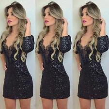 Women's Sequins Lace V Neck Party Cocktail Club Bandage Bodycon Mini Dress S-XL