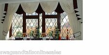 """SWAGS AND TAILS + SHOW CURTAINS, FITS WINDOWS 106"""" to 130"""" (269-330cm)  WIDE"""