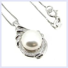 "STR Silver White Freshwater Pearl 8.5mm Tear Pendant 16""/ 18"" Box Chain Necklace"