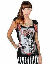 Too Fast Shock Burlesque Blood Bath Bow Punk Rock Gothic Metal Emo T Shirt S-Xl