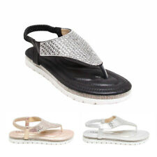 Womens Ladies Crystal Diamante Gladiator Summer Sandals Beach Shoes Party Size