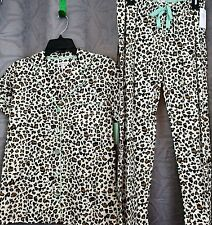 ladies pajamas XL short sleeve Insomniax  set, 100% cotton leopard print w/green