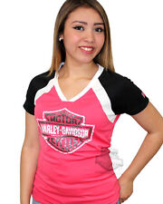 Harley-Davidson Womens Rhinestone B&S COOL BASE Pink Short Sleeve T-Shirt