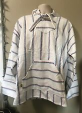 Natural Striped BAJA Shirt Woven Mexican Hoodie Surfer Pullover S-M-L-XL-2XL